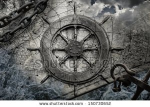 stock-photo-vintage-navigation-background-illustration-with-steering-wheel-charts-anchor-chains-150730652 (1) bateau pirate