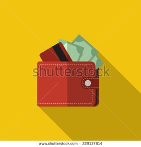 stock-vector-flat-red-wallet-with-card-and-cash-vector-illustration-icon-with-long-shadow-modern-design-229137814 portefeuille $$$ cash
