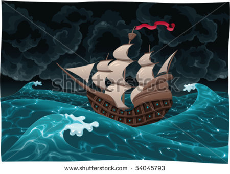 stock-vector-galleon-in-the-sea-with-storm-cartoon-and-vector-illustration-isolated-objects-54045793 bateau pirate