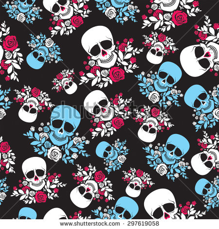 stock-vector-seamless-pattern-with-sculls-and-roses-in-black-white-red-and-blue-colors-vector-illustration-297619058