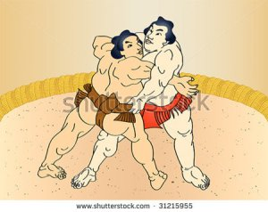 stock-vector-sumo-wrestlers-at-the-ring-in-classic-ukiyo-e-style-31215955 sumo