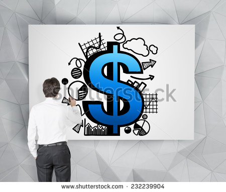 stock-photo-a-metaphor-of-private-equity-investments-a-businessman-is-drawing-a-dollar-sign-and-different-232239904