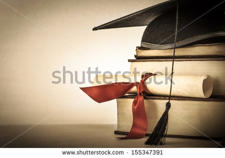 stock-photo-a-mortarboard-and-graduation-scroll-tied-with-red-ribbon-on-a-stack-of-old-battered-book-with-155347391