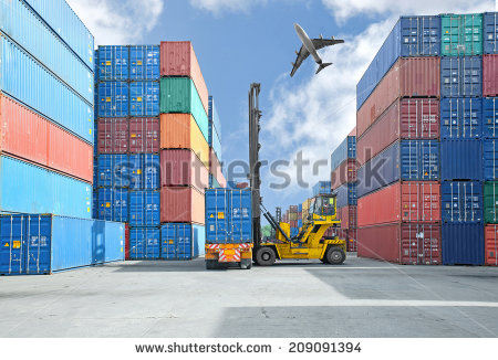 stock-photo-crane-lifter-handling-container-box-loading-to-truck-209091394 import export