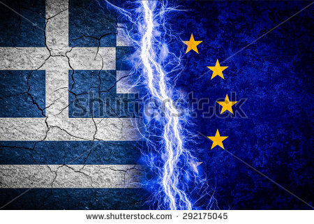 stock-photo-greek-crisis-concept-illustration-greek-and-eu-flags-divided-by-lightning-292175045 grece