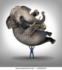 stock-photo-leadership-solutions-business-concept-as-a-take-charge-businessman-lifting-an-elephant-as-an-icon-140500210 éléphant risk