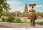 stock-photo-tourists-on-an-elephant-ride-tour-of-the-ancient-city-ayutaya-thailand-195893810