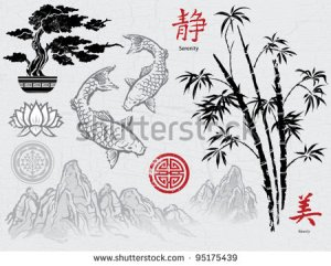 stock-vector-asian-ink-brush-ornaments-95175439 japon