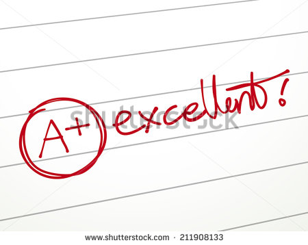 stock-vector-close-up-look-of-a-plus-grade-and-excellent-word-in-the-notebook-211908133