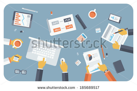 stock-vector-flat-design-style-modern-vector-illustration-concept-of-teamwork-consulting-on-briefing-small-185689517