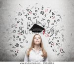 stock-photo-young-beautiful-business-woman-is-thinking-about-education-at-business-school-drawn-business-icons-272653865