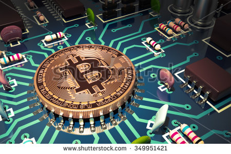 stock-photo-concept-of-bitcoin-like-a-computer-chip-on-motherboard-d-scene-349951421