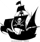 stock-vector-silhouette-of-a-pirate-ship-with-the-image-of-a-skeleton-on-the-sail-78898786 bateau pirate
