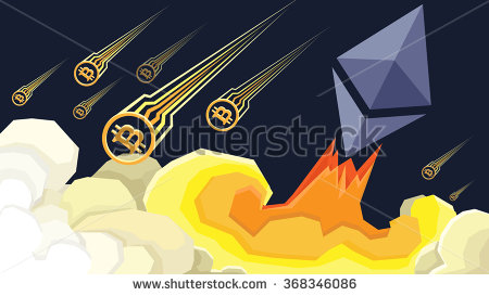 stock-vector-ether-grows-bitcoin-fails-illustration-368346086