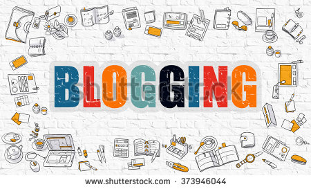 stock-photo-blogging-concept-modern-line-style-illustration-multicolor-blogging-drawn-on-white-brick-wall-373946044