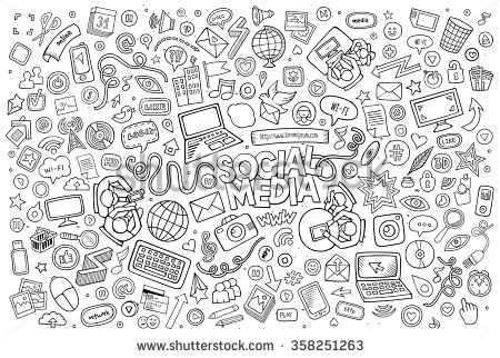 stock-vector-vector-line-art-doodle-cartoon-set-of-objects-and-symbols-on-the-social-media-theme-358251263