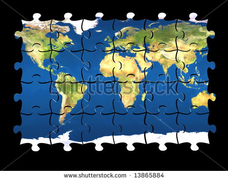 stock-photo--d-coloured-puzzle-with-world-map-on-pieces-isolated-13865884