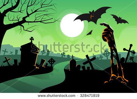 stock-vector-zombie-dead-skeleton-hand-from-ground-vampire-bat-halloween-banner-cemetery-river-graveyard-card-328471919
