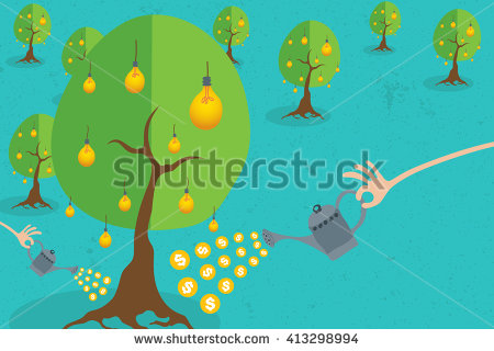 stock-vector-crowdfunding-concept-with-hand-holding-a-bucket-of-coins-to-growing-idea-tree-413298994