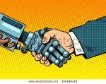 stock-vector-handshake-of-robot-and-man-new-technologies-evolution-392496349